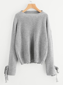 Cutout V Back Bow Tie Sleeve Jumper