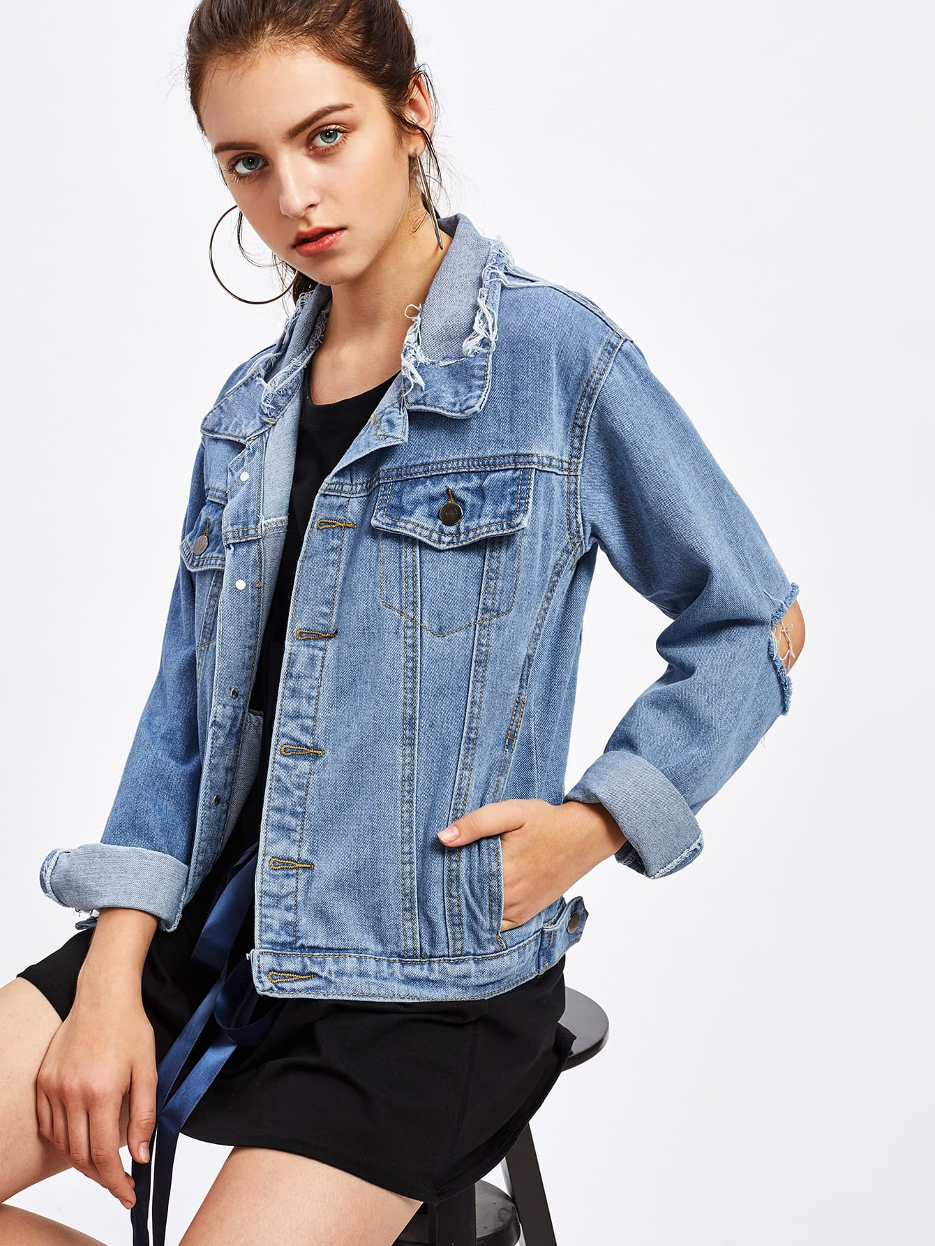Ripped Cut Out Elbow Detail Denim Jacket ripped stitch detail denim jacket