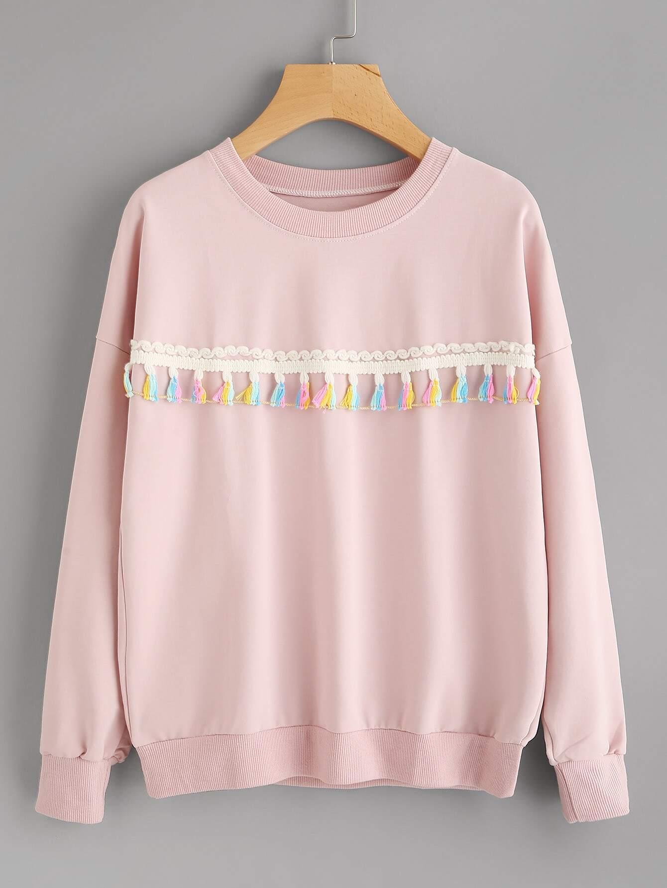 Crochet Tassel Trim Sweatshirt