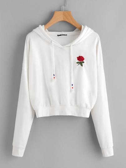 Drop Shoulder Rose Embroidered Hoodie