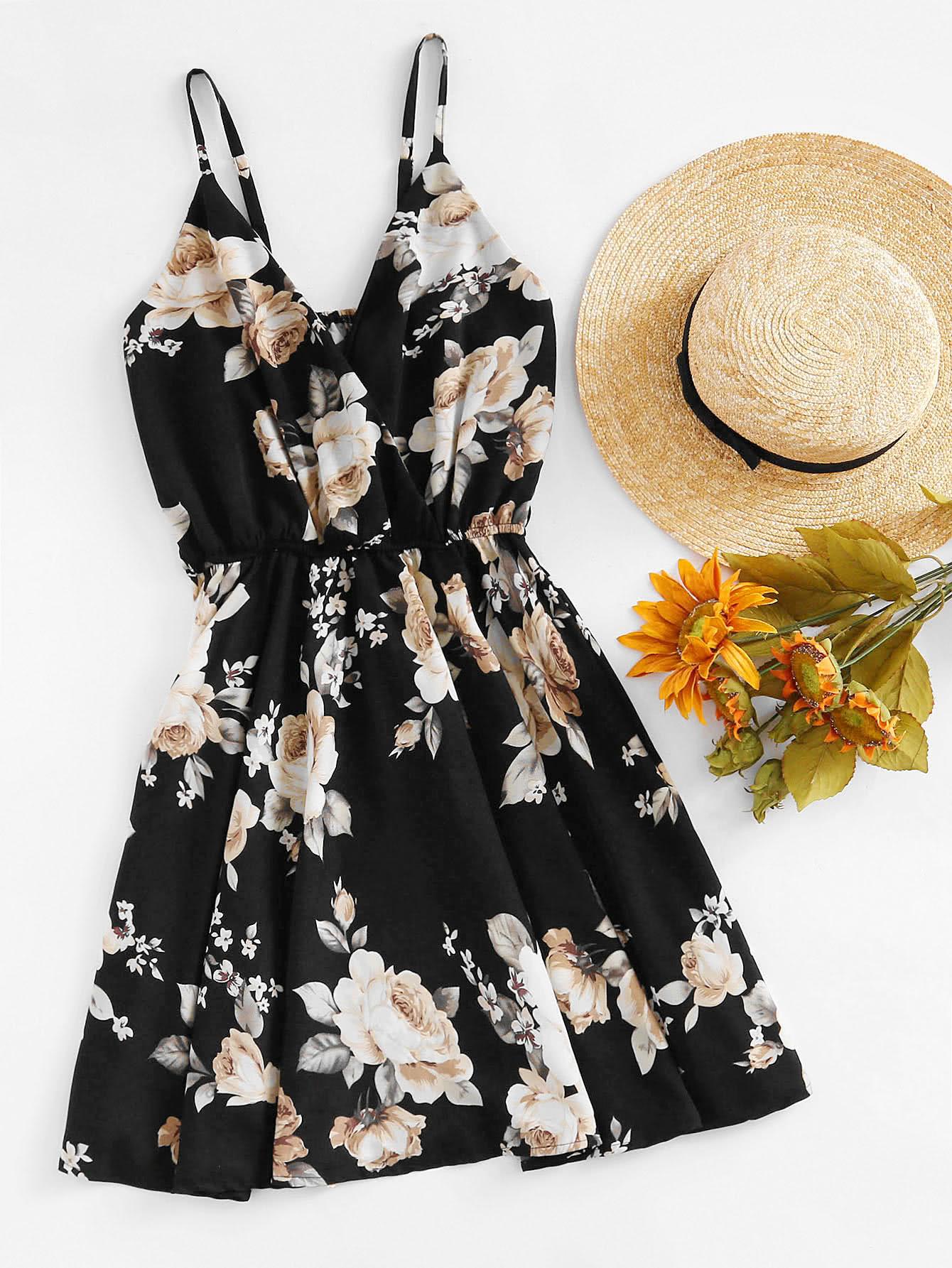 Floral Print Random Surplice Cami Dress halter surplice floral print jumpsuit