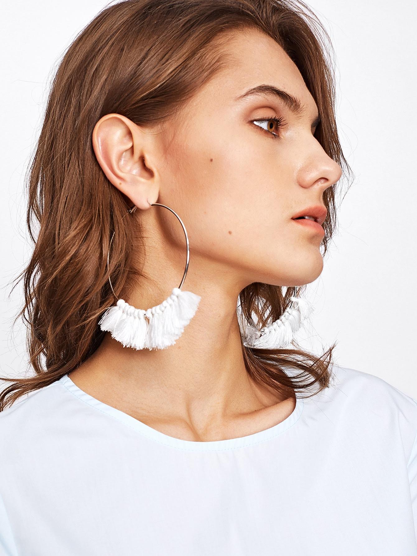 Tassel Detail Hoop Earrings vintage tassel drop hoop earrings