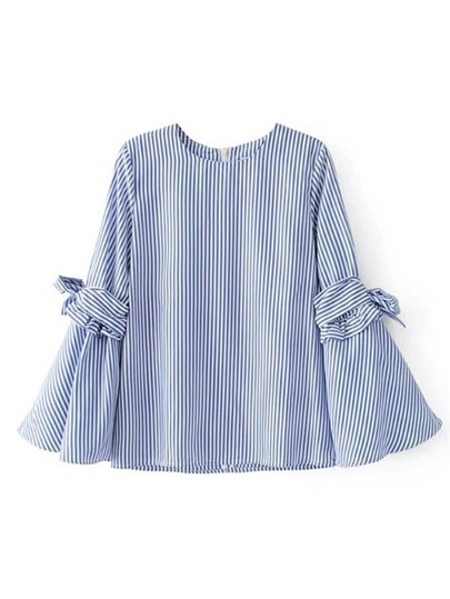 Bell Knot Sleeve Vertical Striped Blouse
