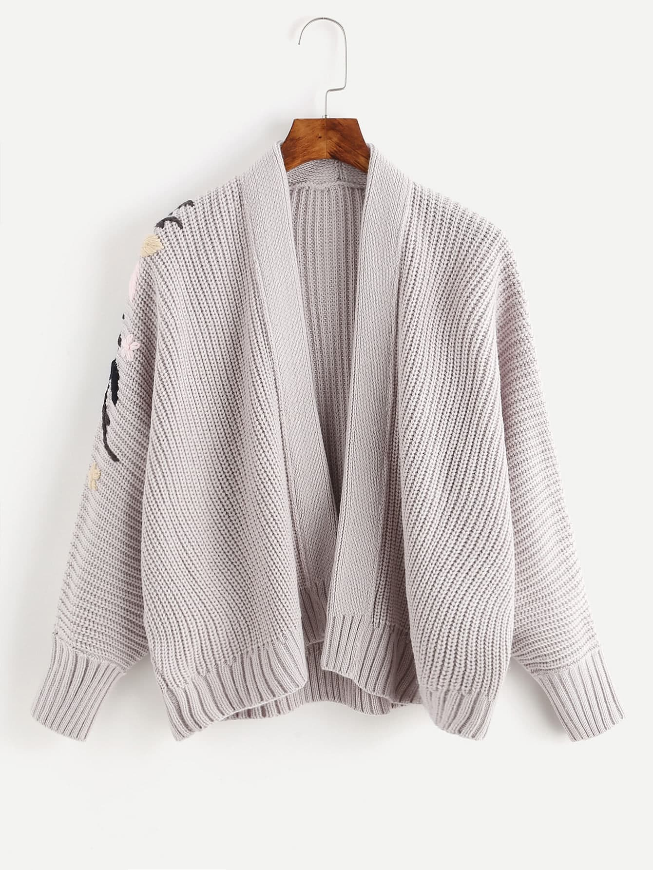 Ribbed Trim Embroidered Knit Jacket sweater170809456