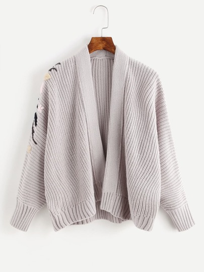 Ribbed Trim Embroidered Knit Jacket