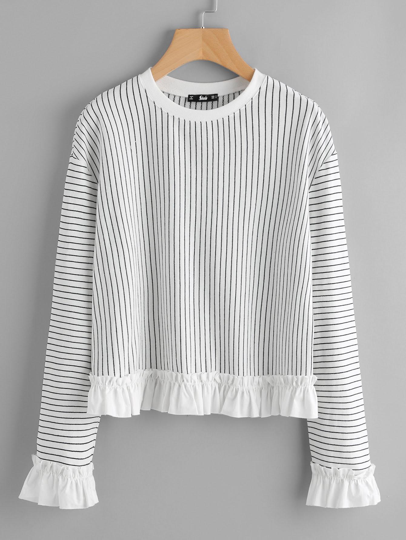 Frill Trim Pinstripe Sweatshirt frill sleeve tape detail sweatshirt