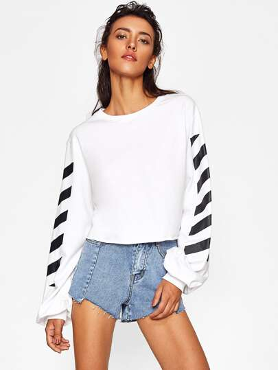 Pull-over manche rayure