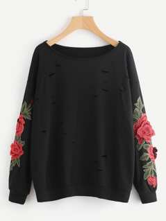 3D Flower Applique Ripped Sweatshirt