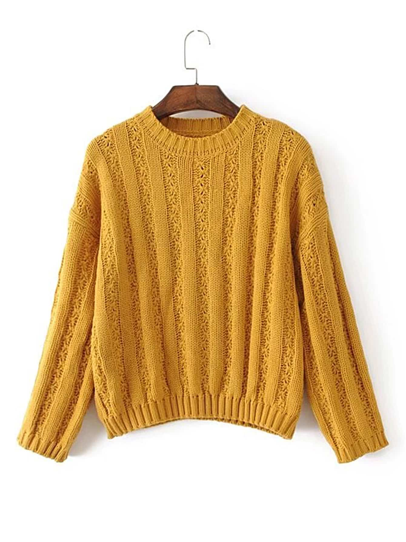 Drop Shoulder Ribbed Pullover Sweater -SheIn(Sheinside)