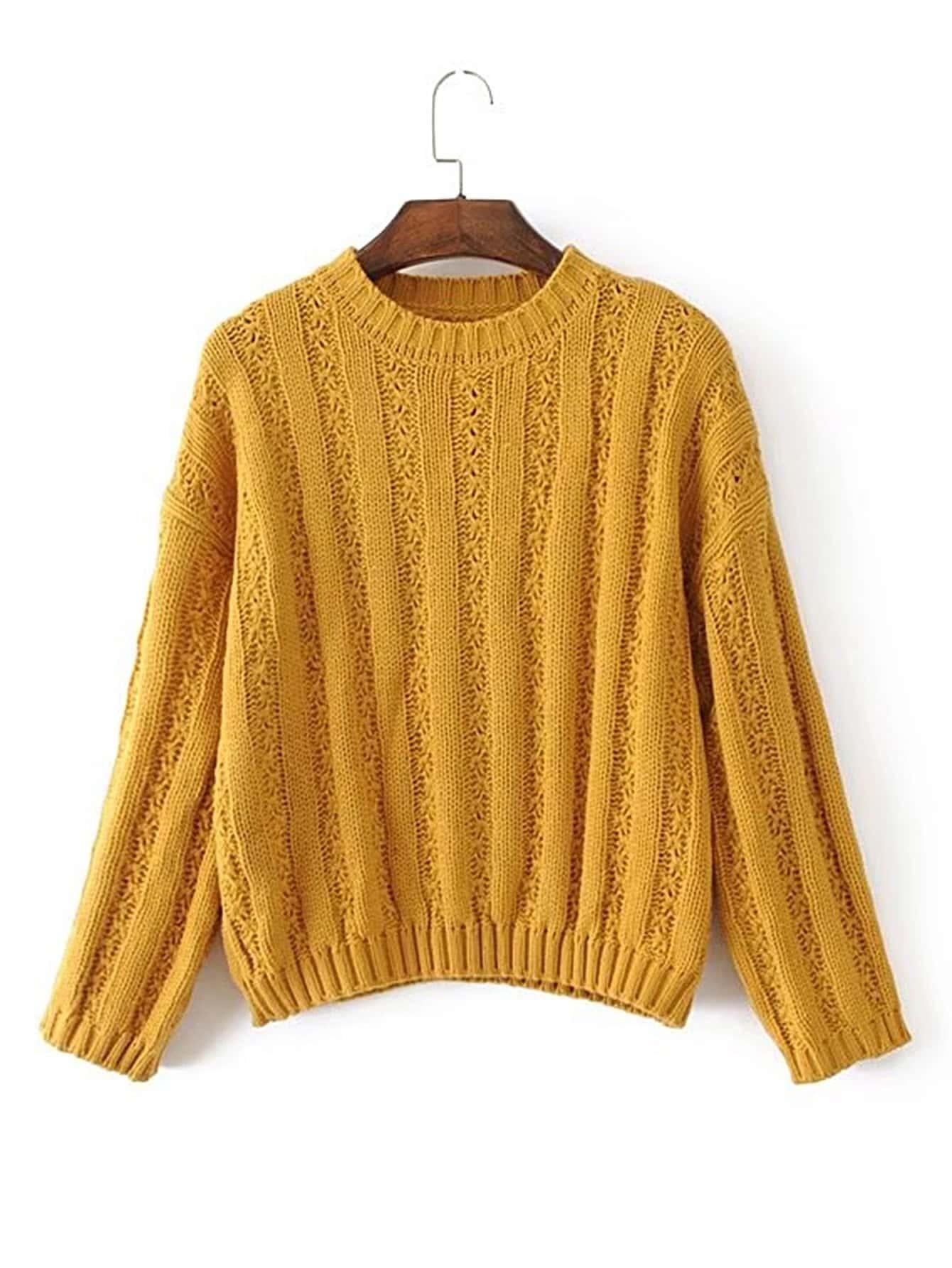 Drop Shoulder Ribbed Pullover Sweater RKNI170817203