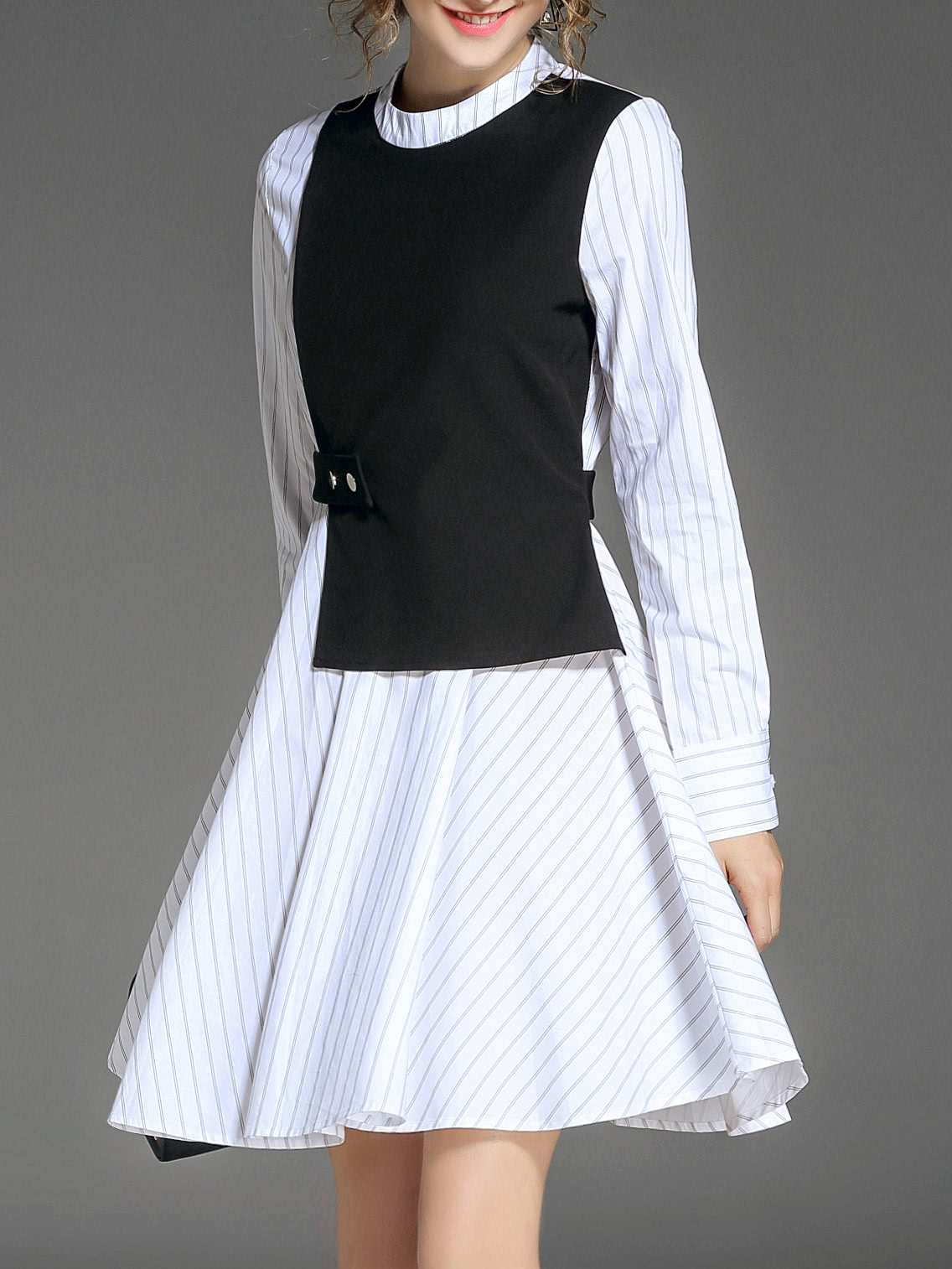 Image of Striped False Two Pieces Dress