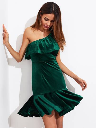 Flounce One Shoulder Velvet Drop Waist Dress