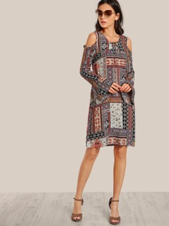 Multi Print Cold Shoulder Dress ORANGE