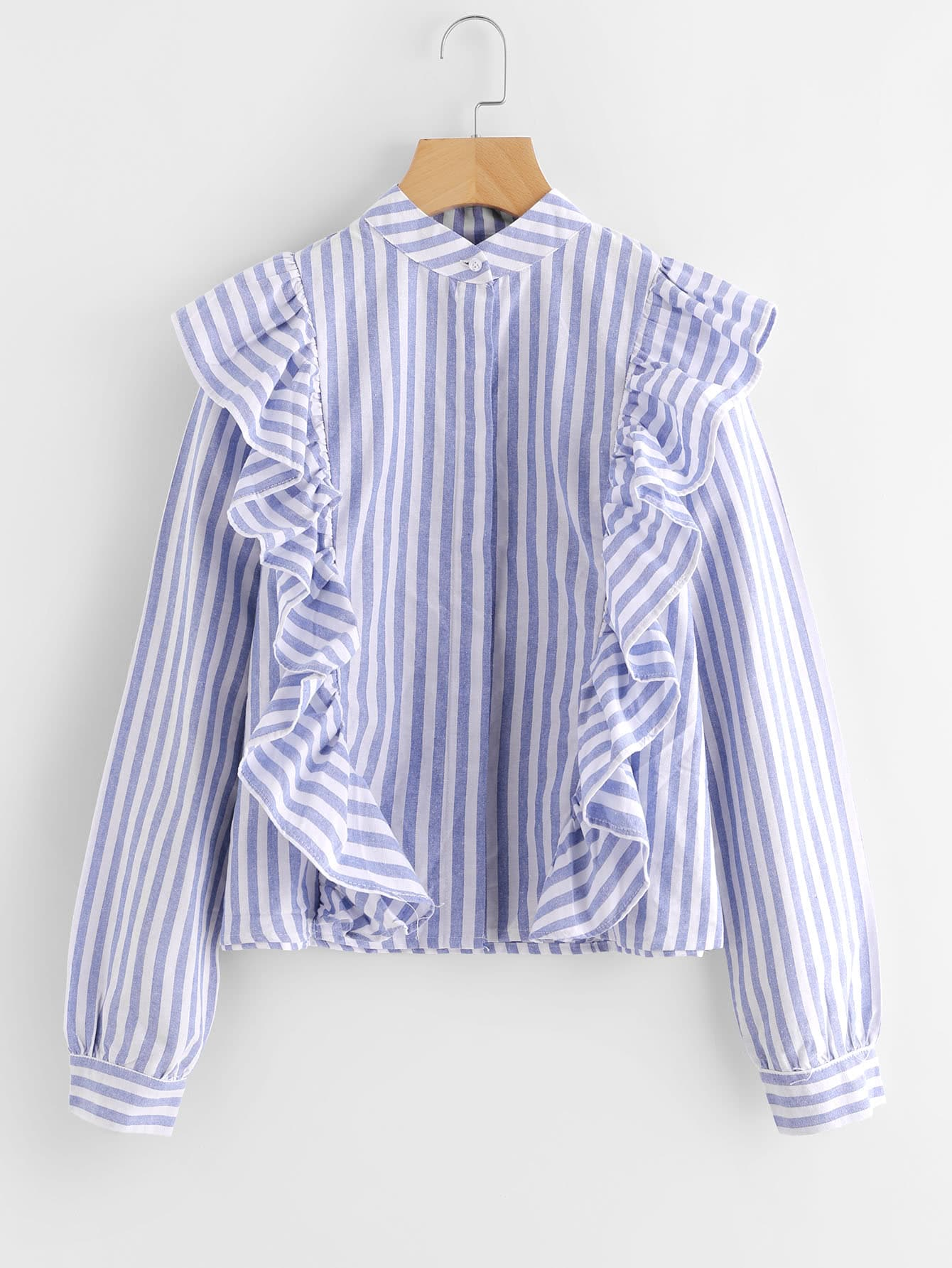 все цены на Contrast Striped Frill Trim Blouse