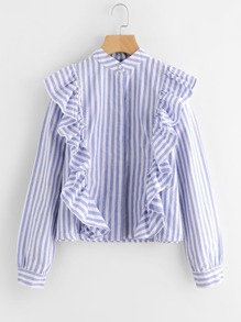 Contrast Striped Frill Trim Blouse