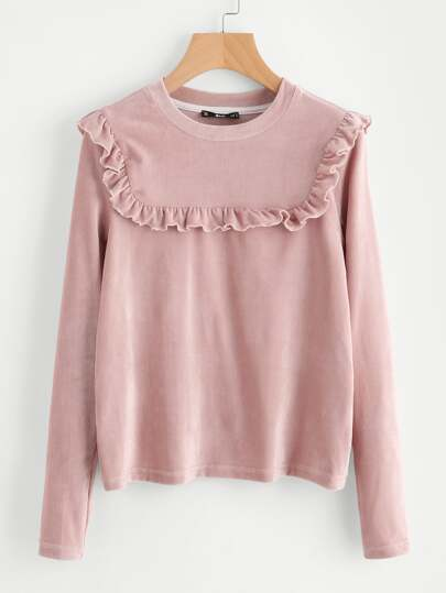 Frill Detail Yoke Ribbed Tee