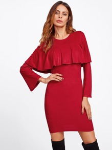 Bell Sleeve Flounce Form Fitting Suede Dress