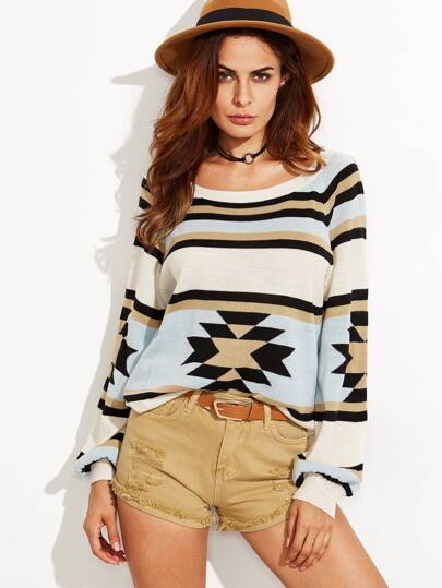 Color Block Tribal Pattern Lantern Sleeve Sweater