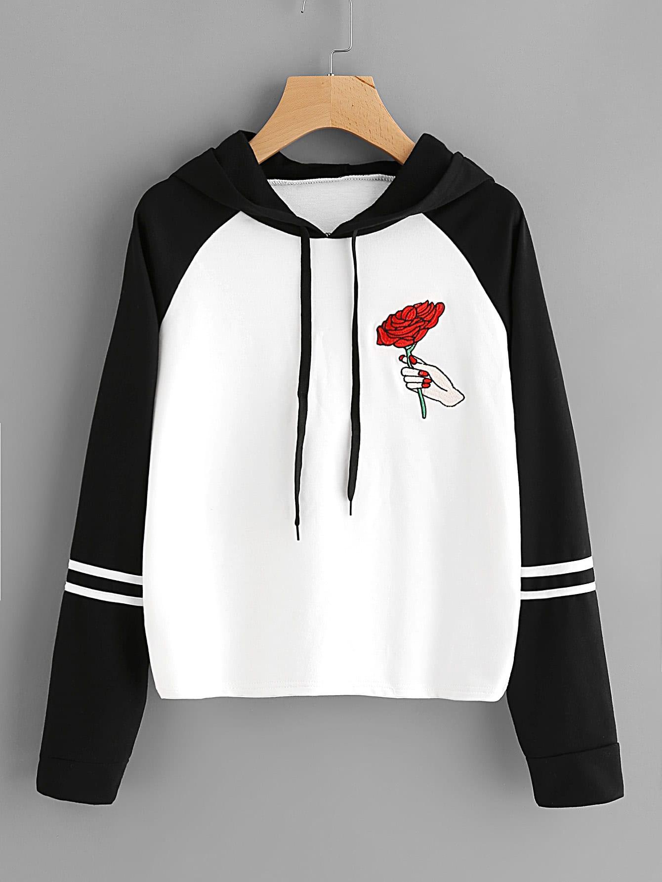 Rose Embroidered Contrast Striped Sleeve Hoodie rtm880n 793 rtm880n 790 rtm880n 796 rtm880n 7954
