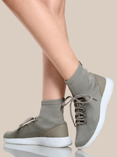 Stretch Knit Sock Bootie Sneakers TAUPE