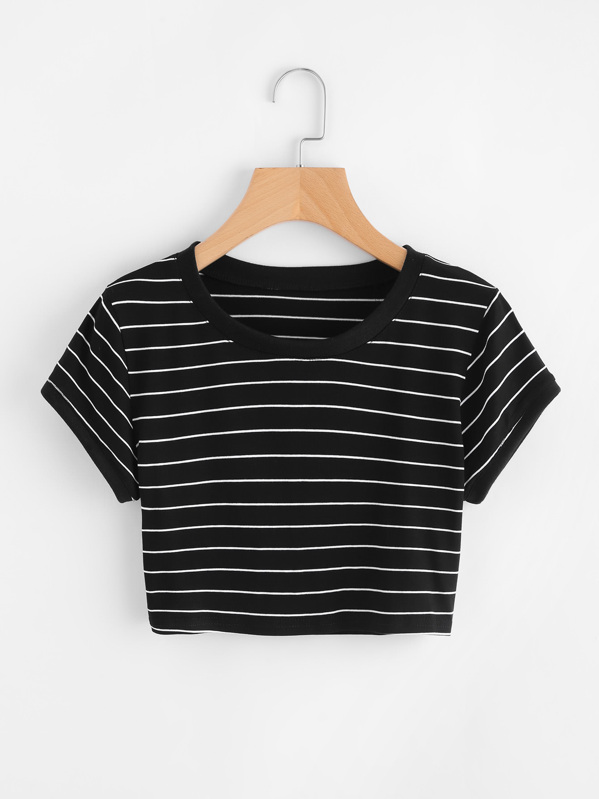 Striped Ringer Crop Tee, null