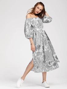 Bardot Lantern Sleeve Slit Side Florals Dress