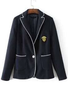 Contrast Binding Single Button Patch Embroidery Blazer