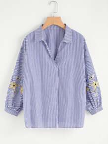 Wrap Front Embroidered Blouse