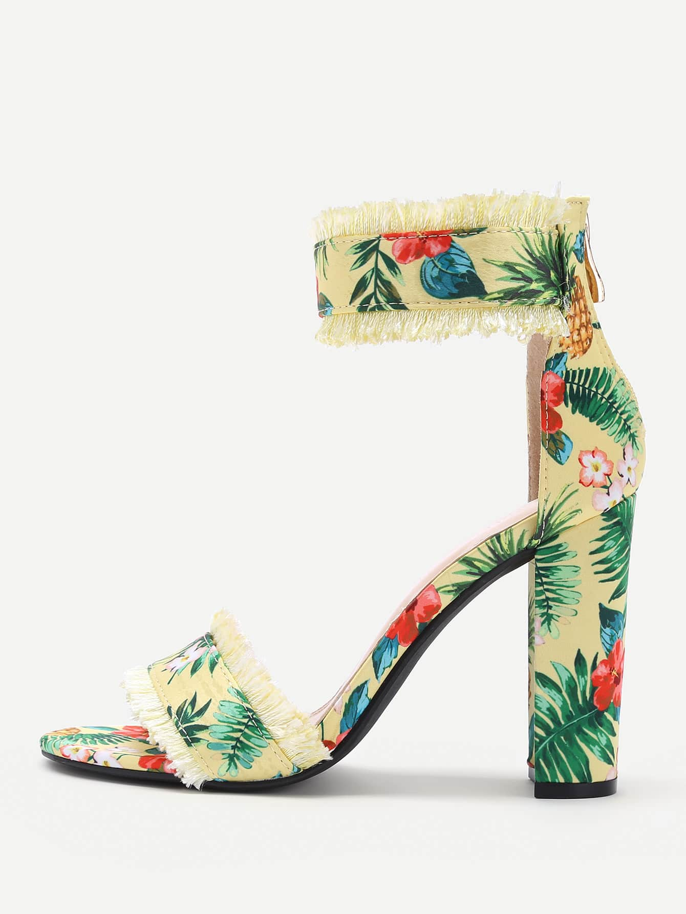 Flower Print Two Part Block Heeled Sandals