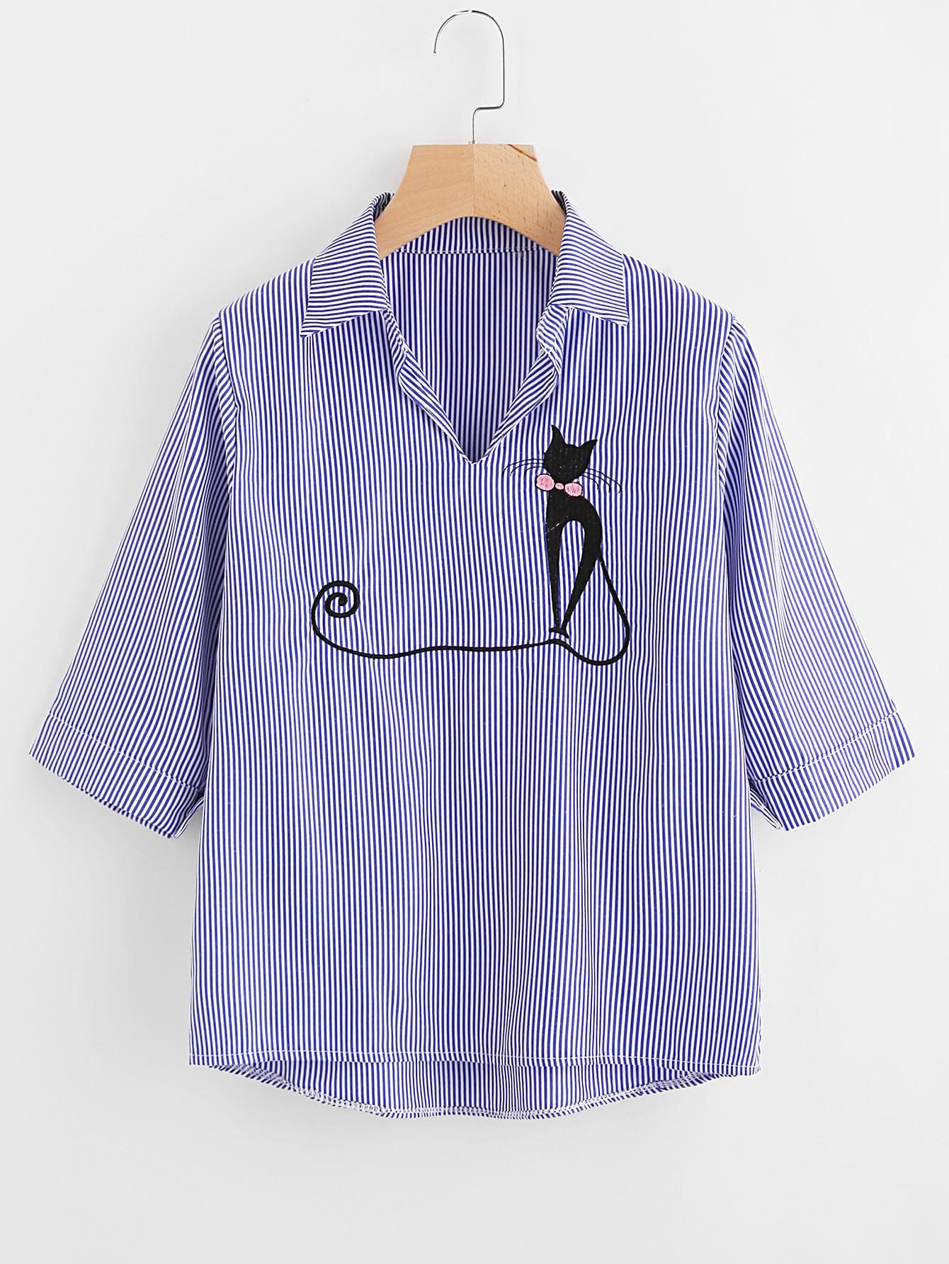 Vertical Striped Cat Embroidery Blouse