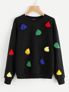 Colorful Tassel Trim Drop Shoulder Sweatshirt