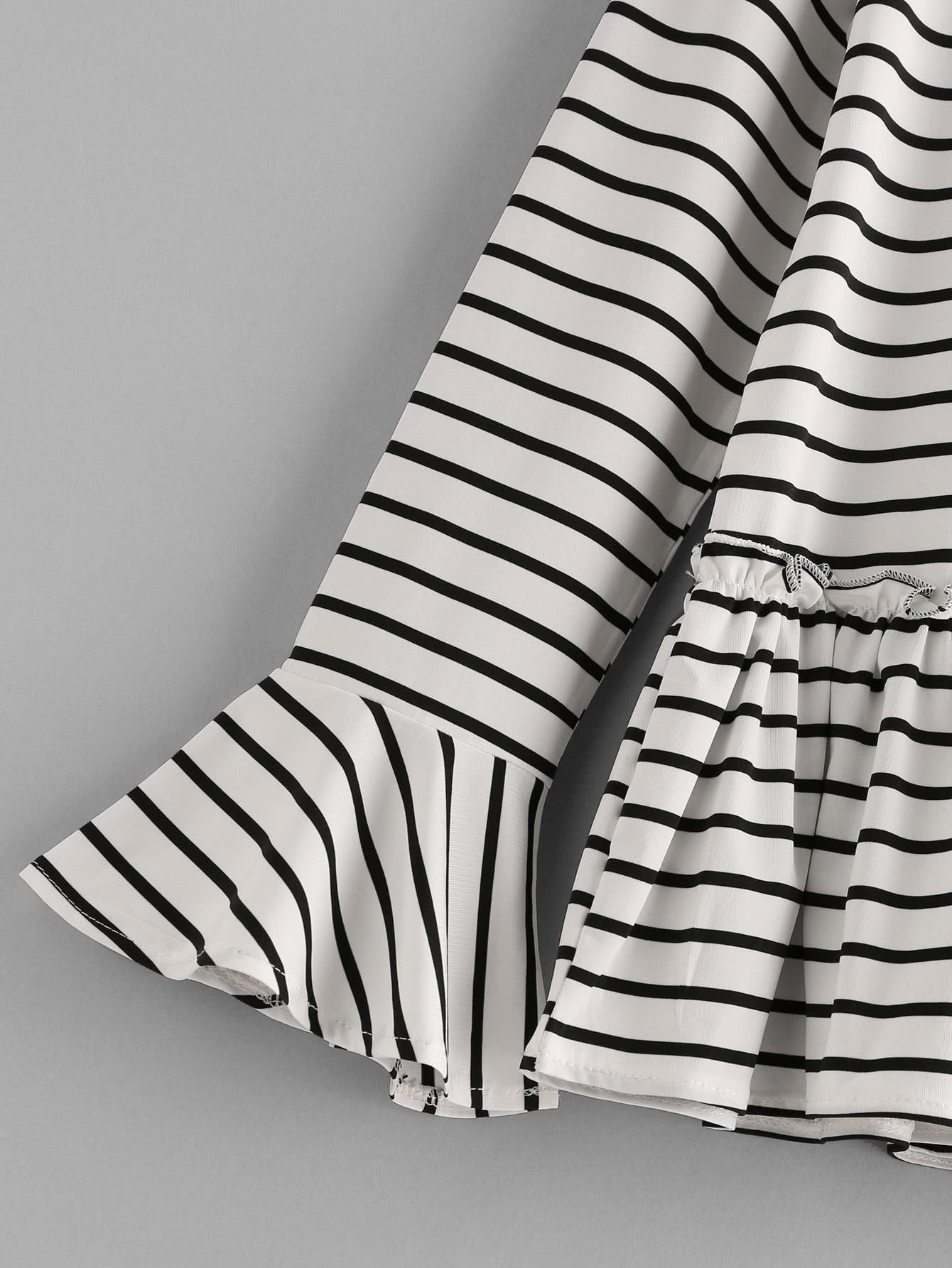 Flute Sleeve Frill Hem Striped Tshirt
