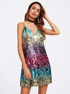 Ombre Sequin Cami Dress