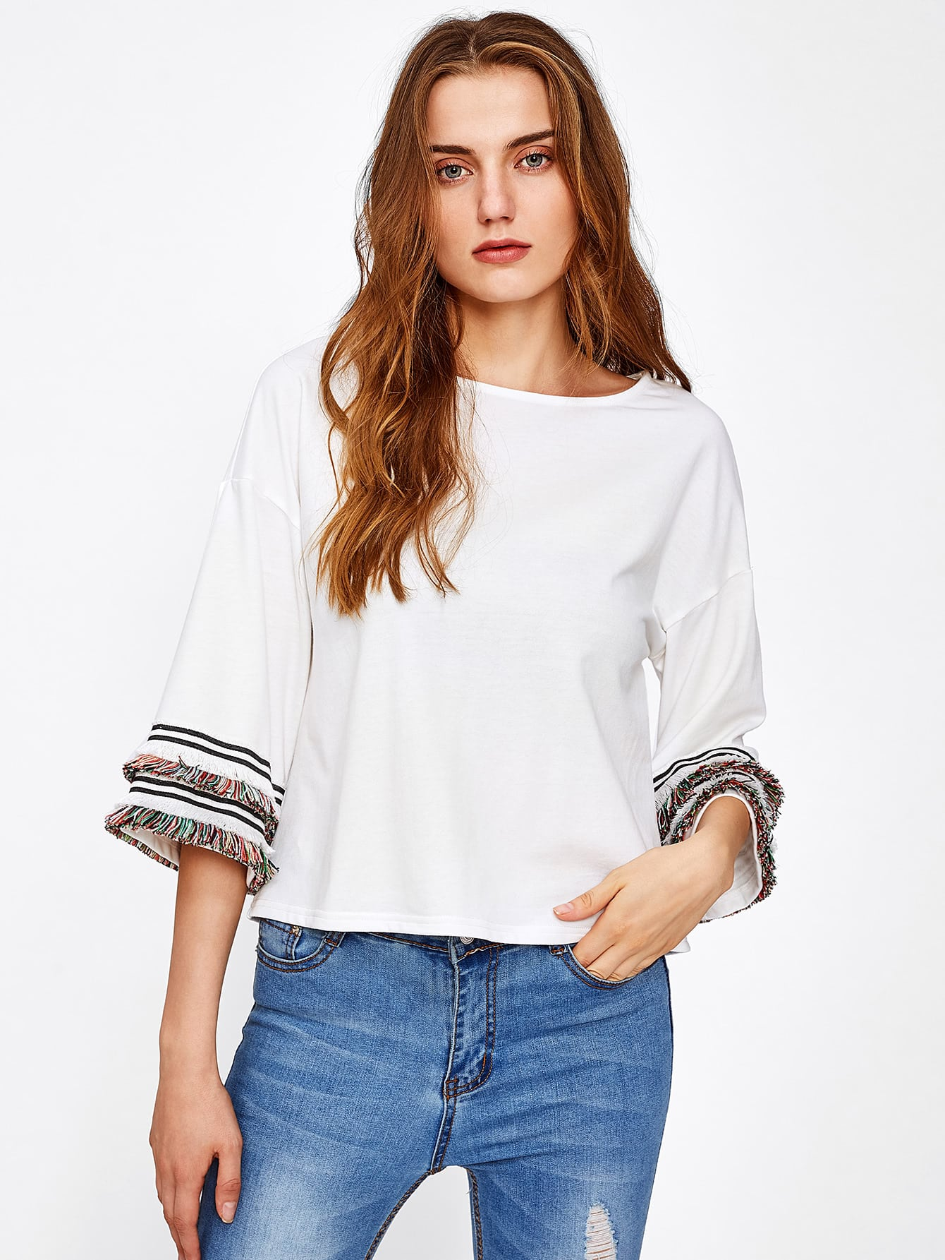 Fringe Lace Detail Bell Sleeve Top pearl detail layered bell sleeve ribbed top