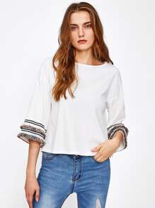 Fringe Lace Detail Bell Sleeve Top