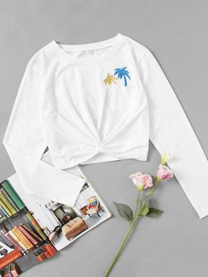 Coconut Trees Embroidered Twist Front Tee