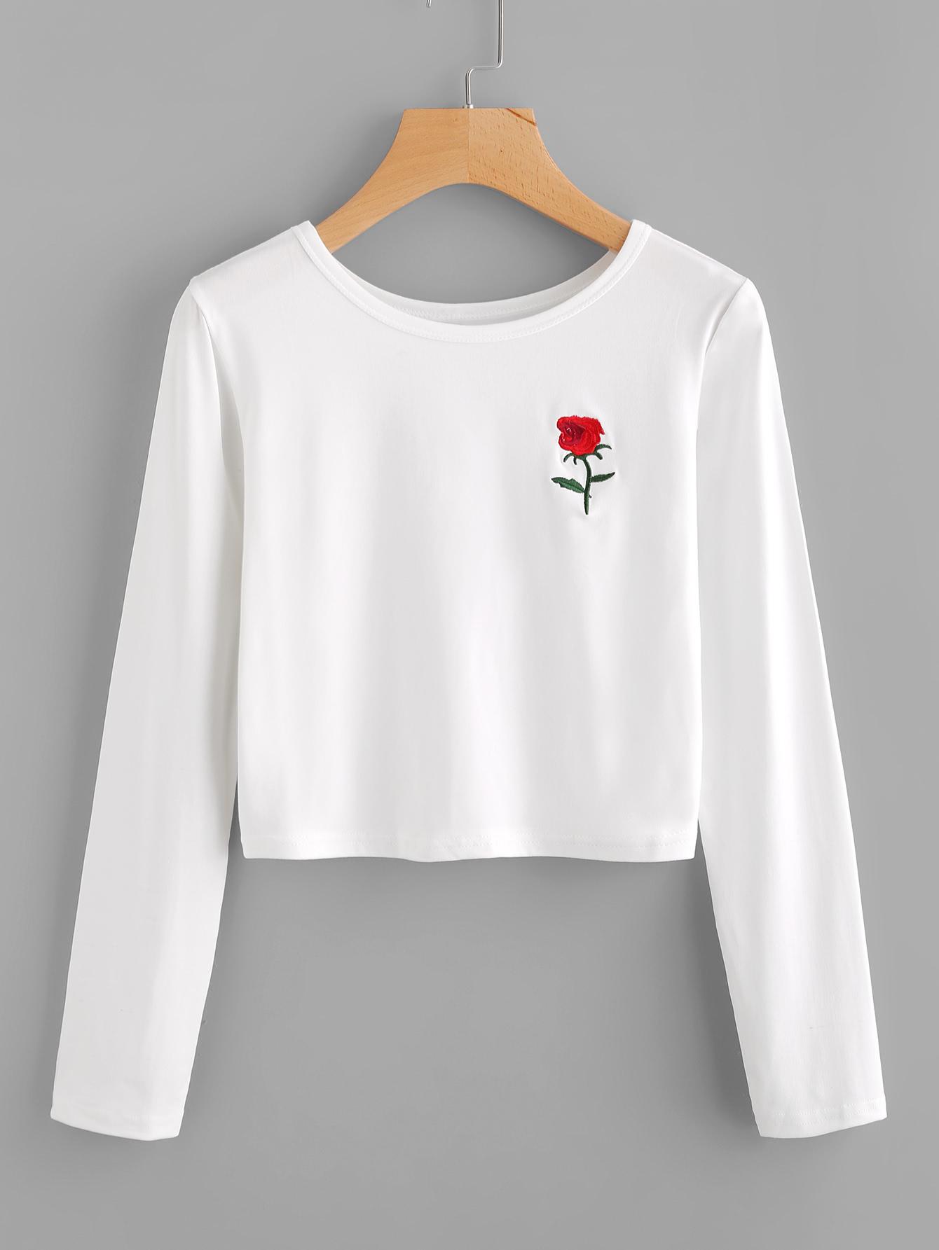 Rose embroidered crop tee shein sheinside