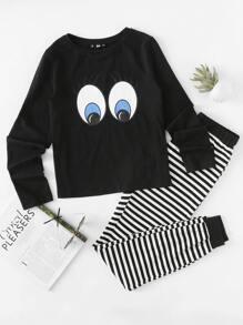 Ensemble de pyjama Top imprimé yeux et survêtement rayure