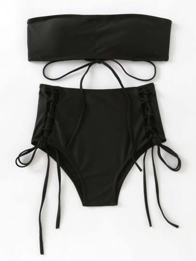 Lace Up High Waist Bandeau Bikini Set