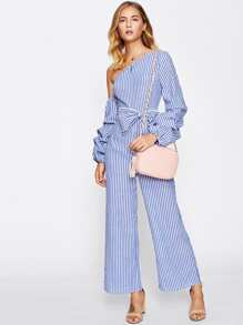 Asymmetric Shoulder Bow Waist Gathered Sleeve Jumpsuit