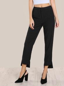 High Rise Pinstripe Pants BLACK WHITE