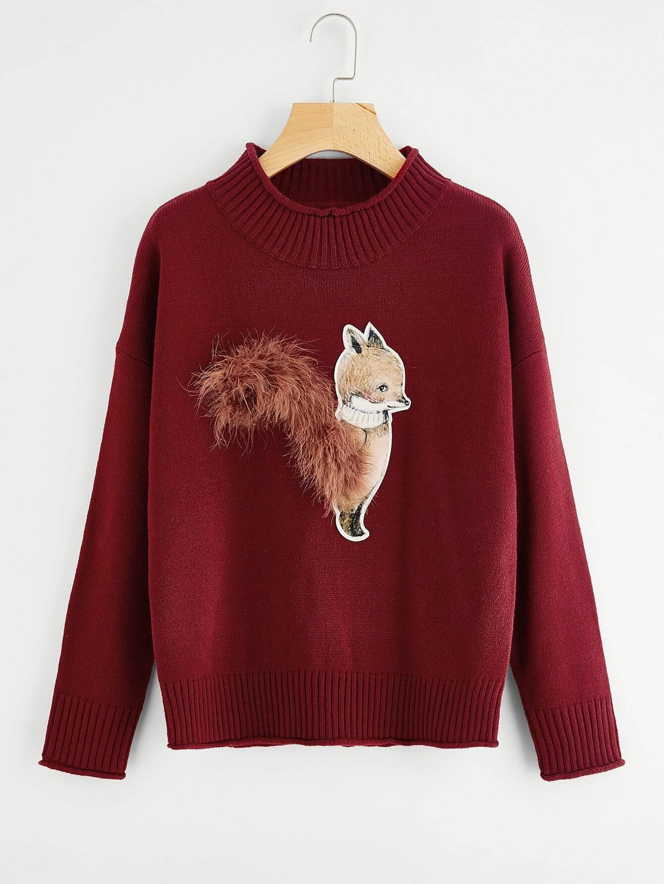 Ribbed Trim Fox Patch Jumper sweater170821471