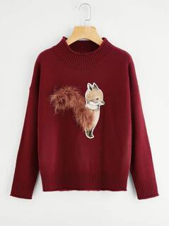 Ribbed Trim Fox Patch Jumper