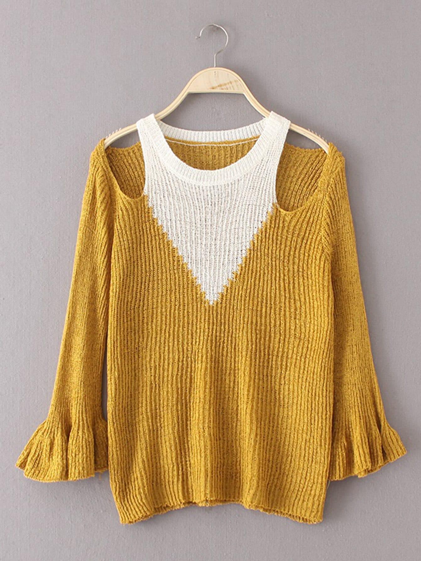 Two Tone Open Shoulder Fluted Sleeve Knitwear RKNI170824201