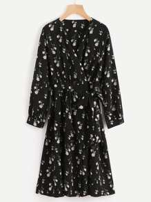 Calico Print Tie Detail Wrap Dress