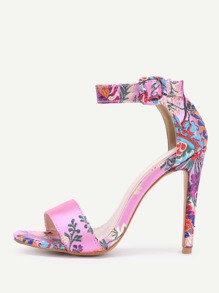 Flower Pattern Ankle Strap High Heel Sandals