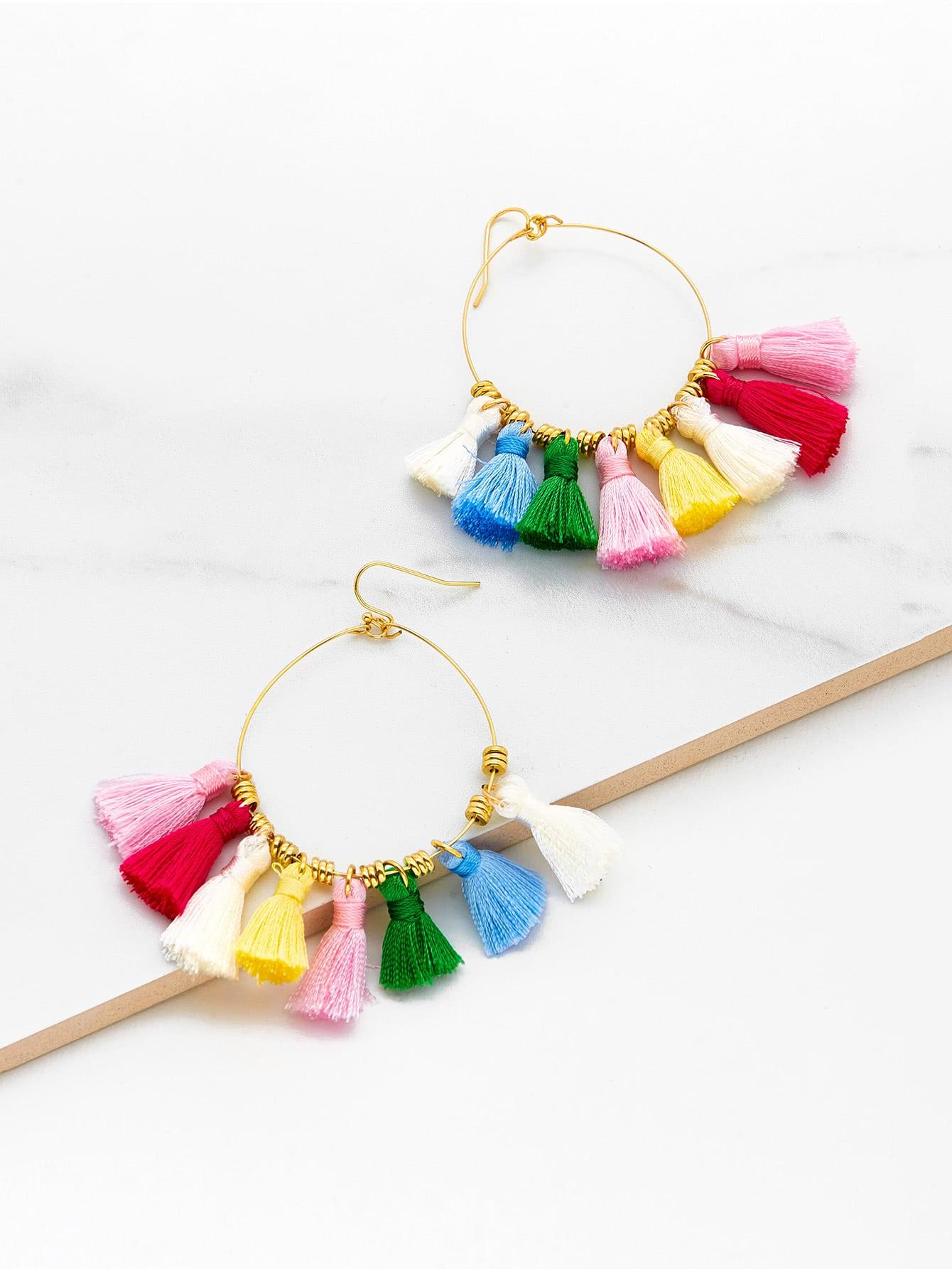 Mini Tassel Hoop Earrings vintage tassel drop hoop earrings