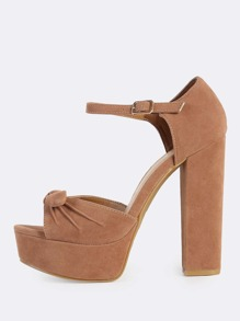 Front Bow Ankle Strap Block Heels CAMEL