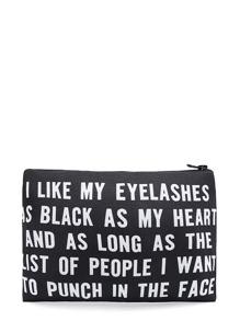 Slogan Print Zipper Makeup Bag