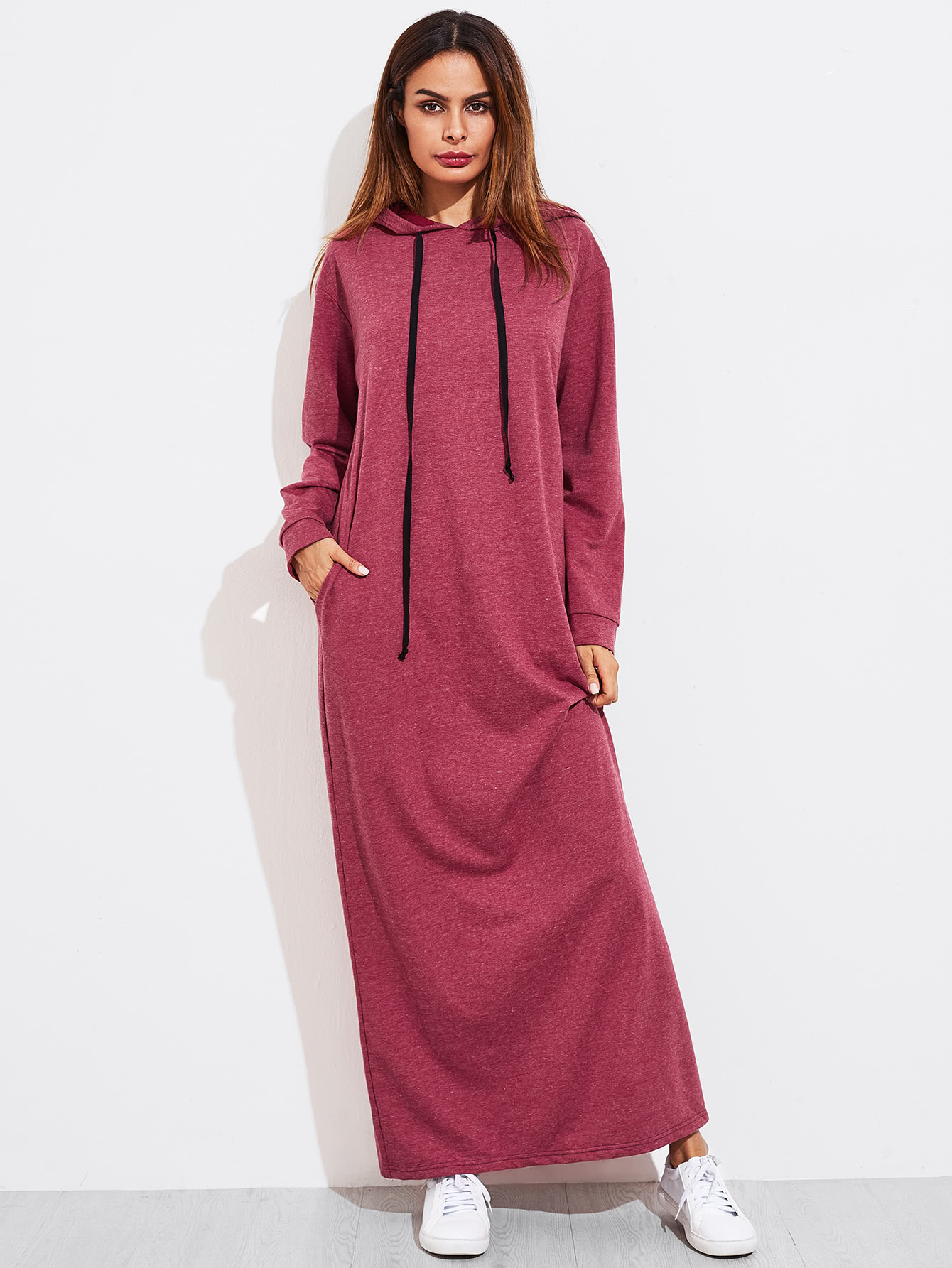 Heather Knit Hidden Pocket Side Hoodie Dress все цены